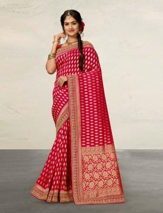 Lovely magenta cotton silk saree