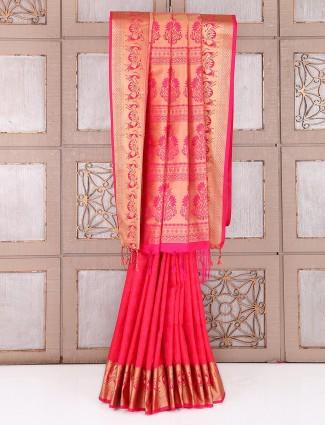 Lovely magenta silk weadding wear saree