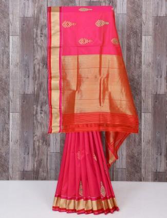 Lovely pink color silk fabric saree