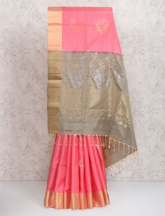 Lovely pink festive wear saree