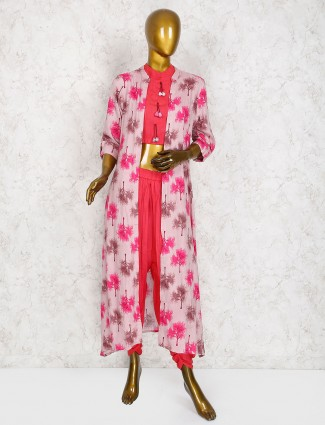 Lovely pink jacket style dhoti suit in cotton