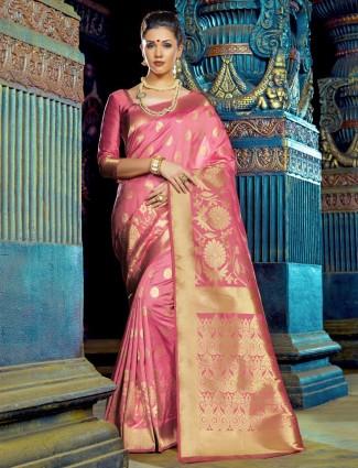 Lovely pink kanchana silk saree