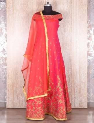 Lovely pink raw silk anarkali suit