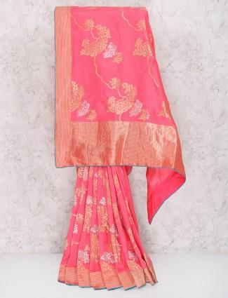 Lovely pink saree in muga silk