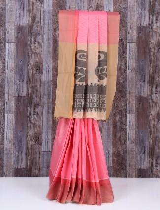 Lovely pink silk sober saree