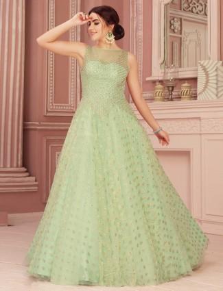 Lovely pista green gown in net