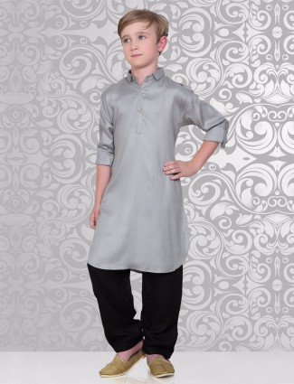 Lovely plain grey festive wear pathani suit