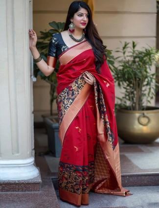 Lovely red banarasi silk saree