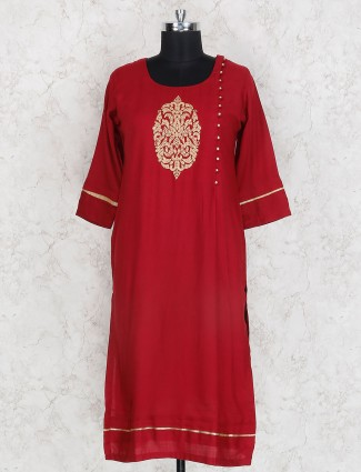 Lovely red casual wear cotton kurti