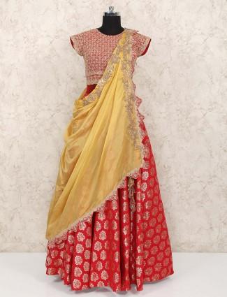 Lovely red color banarasi silk wedding lehenga choli