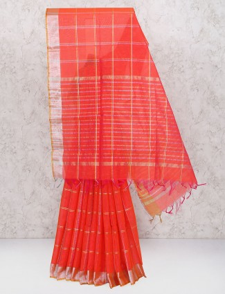 Lovely red color cotton silk fabric saree