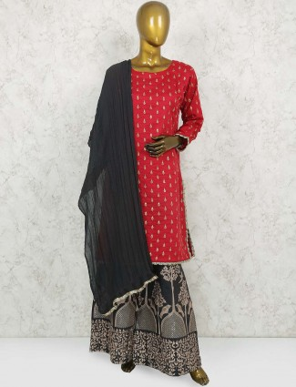 Lovely red color cotton silk punjabi sharara suit