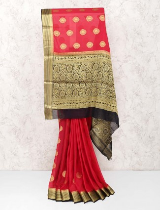 Lovely red color festive wear georgette saree