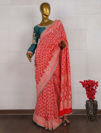 Lovely red color georgette bandhej saree
