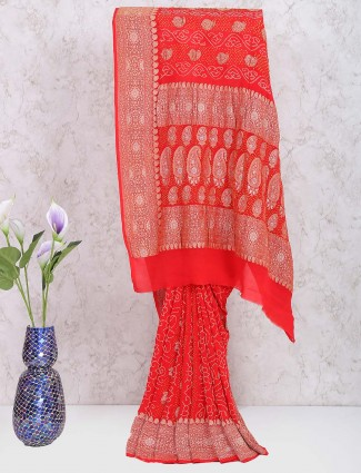 Lovely red color georgette gharchola saree