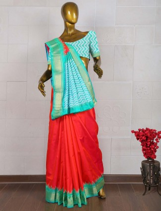 Lovely red color pure south silk wedding saree