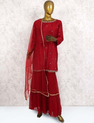Lovely red color raw silk punjabi sharara suit