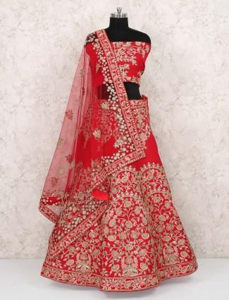 Lovely red color raw silk wedding semi stitched lehenga choli