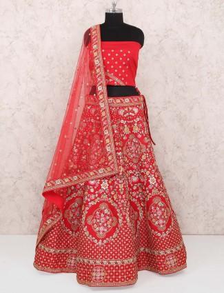 Lovely red color raw silk wedding wear semi stitched lehenga choli