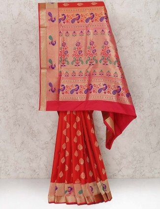Lovely red color semi silk wedding wear saree