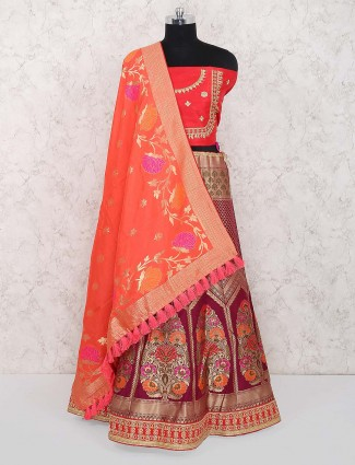 Lovely red color semi stitched banarasi silk lehenga choli