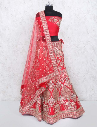 Lovely red color silk semi stitched bridal lehenga choli