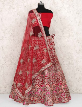 Lovely red color silk semi stitched lehenga choli