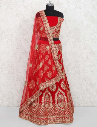 Lovely red color velvet semi stitched lehenga choli