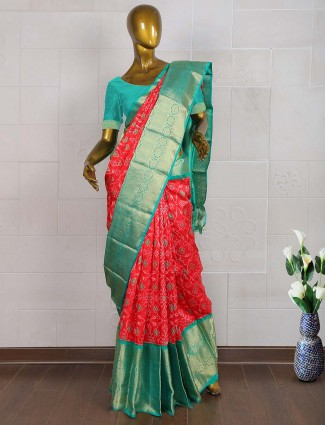 Lovely red color wedding patola saree