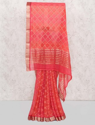 Lovely red color wedding wear saree