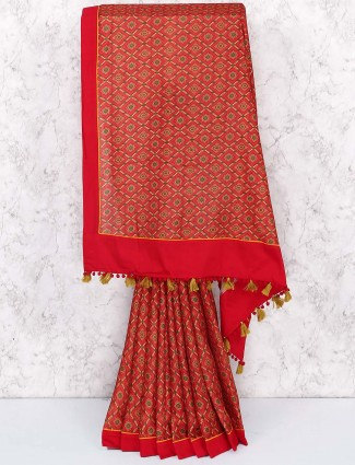 Lovely red colored cotton saree