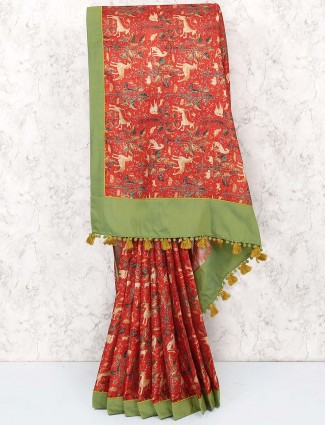 Lovely red cotton printed saree