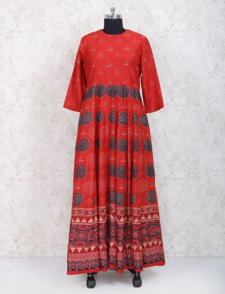 Lovely red cotton silk anarkali suit