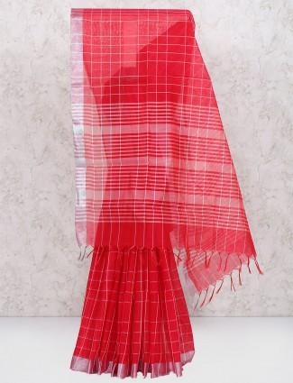 Lovely red cotton silk saree