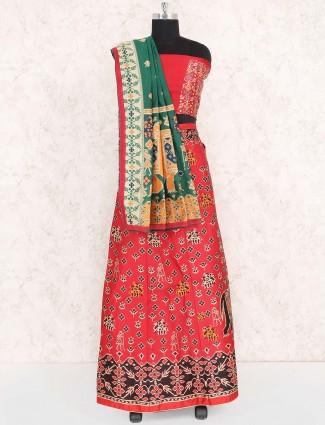 Lovely red cotton silk semi stitched lehenga choli