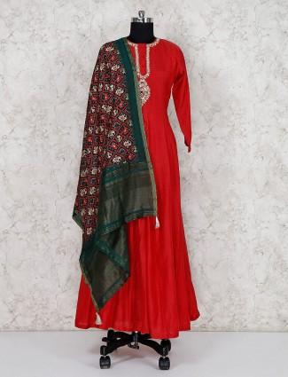 Lovely red festive cotton silk floor length anarkali suit