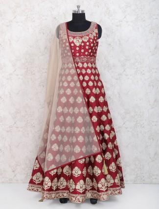 Lovely red floor length anarkali suit in silk