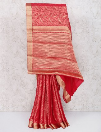 Lovely red georgette saree