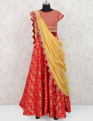 Lovely red hue banarasi silk anarkali suit