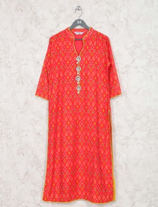Lovely red hue cotton festive kurti