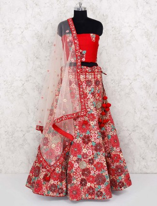 Lovely red hue raw silk briadal semi stitched lehenga choli
