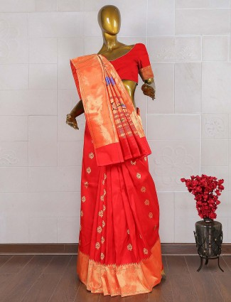 Lovely red kanjivaram saree