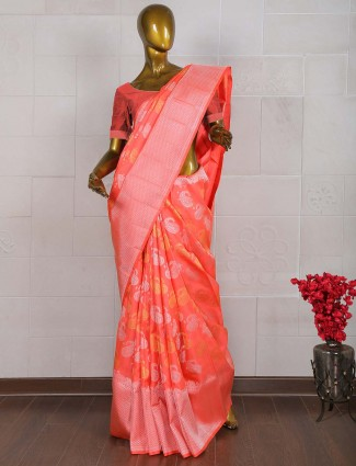 Lovely red pure banarasi wedding saree