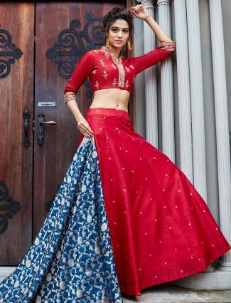 Lovely red raw silk lehenga choli