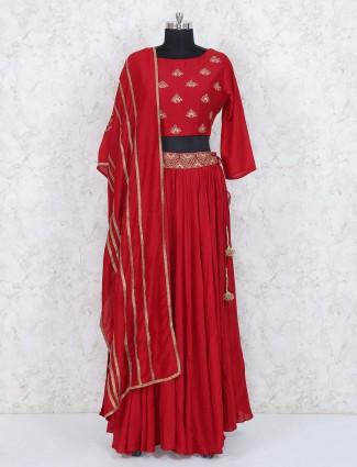 Lovely red silk festive lehenga choli