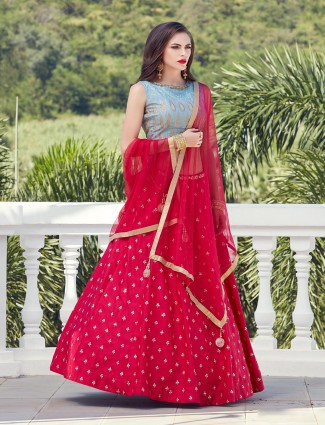 Lovely red silk lehenga choli