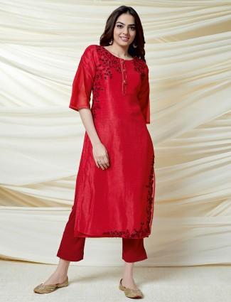 Lovely red thread work cotton silk kurti
