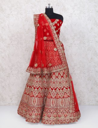 Lovely red velvet wedding semi stitched lehenga choli