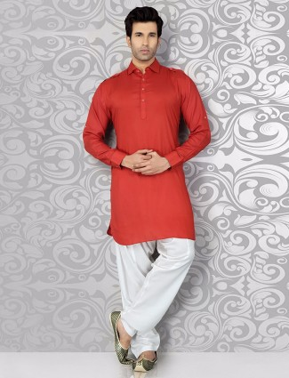 Lovely solid red cotton pathani suit