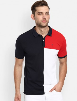 LP black and white solid cotton polo t-shirt